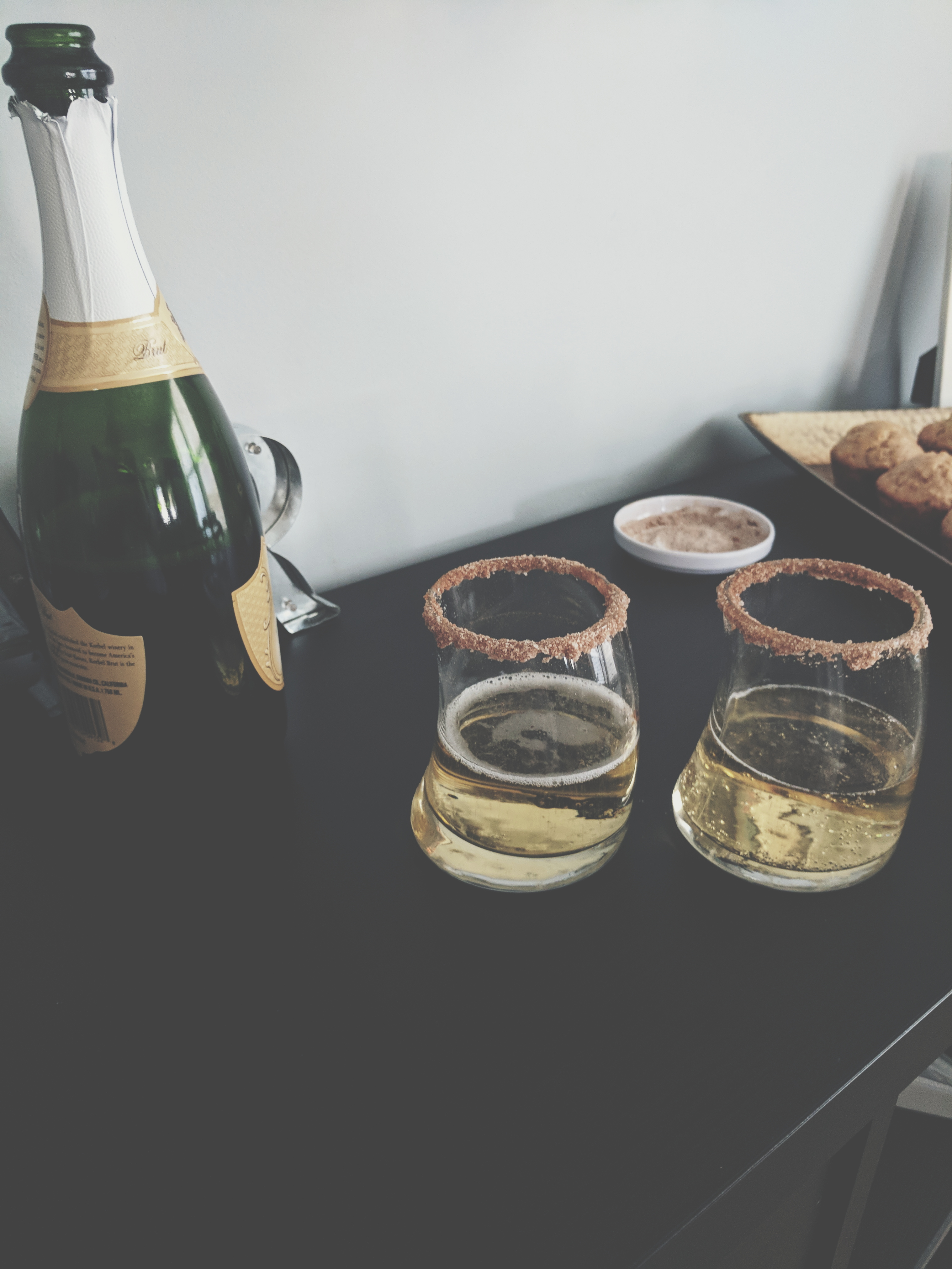 Fill your glasses halfway with champagne before topping off with apple cider for these amazing Apple Cider Mimosas!
